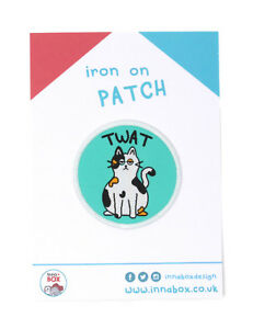 Twat Cat Embroidered Iron On Patch Badge Naughty Rude Funny Humorous Novelty