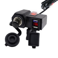 Waterproof Dual USB 4.2A 12V Motorcycle Handlebar Charger Socket Mount Voltmeter