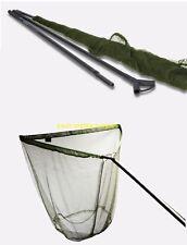 "42"" Inch Large Saber Carp Pike Fishing Landing Net + 2pc 6ft Carbon Handle + Bag"