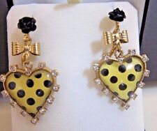 BETSEY JOHNSON Rare LG Yellow w/Black Dot Crystal~Bow~flower Drop Earrings NWOT