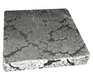 mq06t Silver Black Ash Grey Rose Shimmer Velvet 3D Box Sofa Seat Cushion Cover