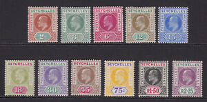 Seychelles. 1906. SG 60-70, 2c to 2r25. Fine mounted mint.