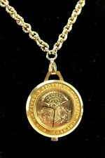 Vintage Mechanical Gold Tone Morgan Silver Dollar (Costume/Faux?) Necklace Watch