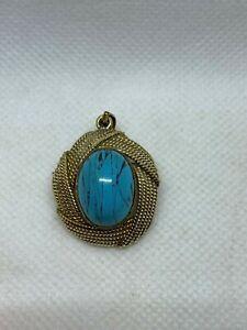 Beautiful Vintage Ladies Large 14k Turquiose Brooch Pendant Wear Not Scrap