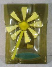 Vtg Signed HIGGINS MidCentury Slumped Fused ART GLASS Dish Flower Power Greens