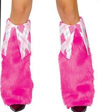 Fur and Argyle Boot Covers - Argyle/Hot Pink