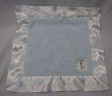 LITTLE GIRAFFE BABY SECURITY BLANKET BLANKY BLANKIE BLUE WHITE SATIN POLKA DOT