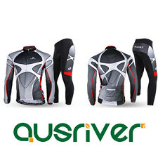 Men Cycling Bicycle Reflective Strip Clothes Long Sleeve Jersey Padded Pants Set