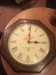 Wooden Pub Clock.  Bass Ltd Brewers.  Untested