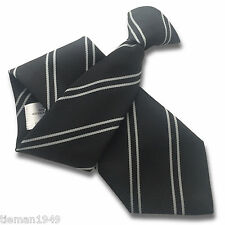 Black Mens Security Clip On Tie Clipper - repeating Double Sliver Grey Stripes