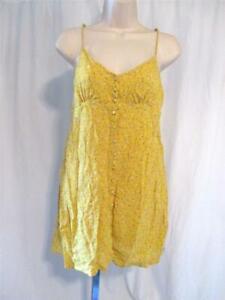 Junior Size M Volcom Short Sundress Yellow Gold Print Spaghetti Strap High Waist