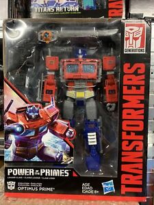 Transformers POTP Power of the Primes Leader class Optimus Prime w Trailer NEW