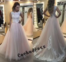 Blush/Pink Lace Tulle A Line Corset Wedding Dress Custom Sleeveless Bridal Gown
