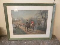 After the Hunt, English Fox Hunt Framed & Matted Lithograph Print by Blinks