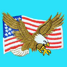USA Flag Bald Eagle Embroidery Iron On Patch Jacket Applique Biker Free Shipping