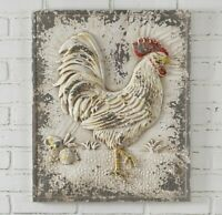 Farmhouse Chic ROOSTER Wall Decor Plaque Metal French Country Relief Primitive