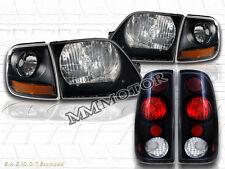 97-03 FORD F150 STYLESIDE HEADLIGHTS BLACK + CORNER LIGHTS + 97-00 TAIL LIGHTS