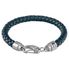 Tommy Hilfiger Braided Green Blue Leather Mens Bracelet 2790045
