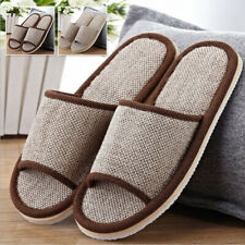 Men Women Anti-slip Flax Linen Comfy Home Indoor Slippers Summer Open Toe Shoes