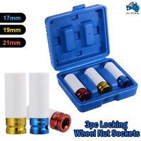 """3Pcs Alloy Wheel Deep Impact Nut Socket Set 17mm 19mm 21mm 1/2"""" Nylon Sleeve AUS"""