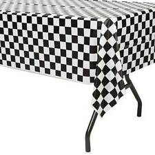 2pk Black and White Plastic CARS Theme Checkered Racing Nascar Table Cover