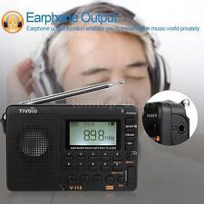 TIVDIO V-115 Portable AM/FM/SW FM Radio Receiver REC Recorder w/Sleep Timer K4E5