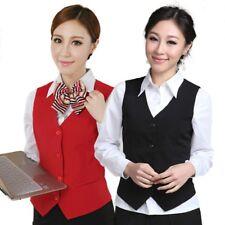 Women Formal Work Dress Suit Vest Sleeveless Cafe Bar Waitress Waistcoat Gilet