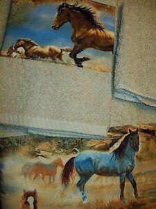 Custom NEW WESTERN/SOUTHWEST DECOR 3 PC TOWEL SET, TAN HORSE BORDER