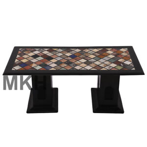 Handmade Marble Vintage Coffee Table Stone Inlay End Table Top Mid Century Stand