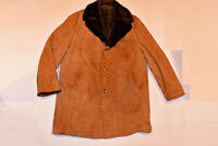 MEN'S VINTAGE SUEDE LEATHER COAT! FAUX FUR LINING/CLASSIC STYLE/WARM/GERMANY! L