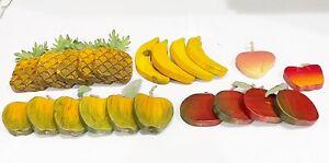 Vintage Carved Wood  Fruits Hand Painted Decorative Fruits HTF Unique