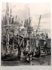 Istanbul MOSQUE SEA PORT BOATS CAIQUE ~ Old Constantinople City Scene Art Print