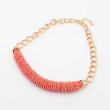 1pc Fashion Vintage Handmade DIY Beaded Chunky Chain Bib Collar Women Necklace Pink
