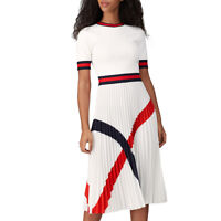 Ted Baker Fynlie Knitted Sweater Short Sleeves Striped Pleated Skirt Dress $320