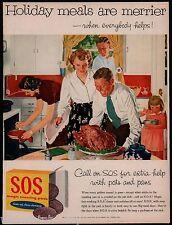 1955 CHRISTMAS or THANKSGIVING Turkey Dinner Family SOS S.O.S Retro Kitchen AD