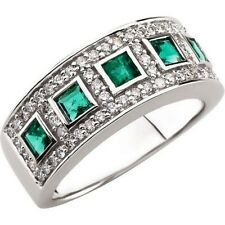 Genuine Emerald and Diamond Ladies Ring in 14kt White Gold.