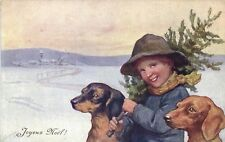 Dogs, Boy with Two Dachshunds and a Pine Tree, Old Postcard