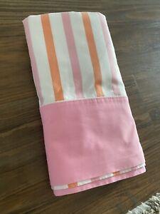 Vtg Cannon Monticello Pink Orange STRIPE TWIN  FLAT Sheet