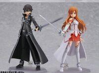 2pcs Sword Art Online Asuna Kirito PVC Action Figure New in Box Figma 178 174