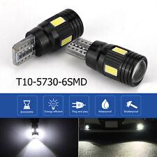 2x T10 LED bianco 6 SMD 5730 Canbus Error Free Car Wedge Lampadina luce targa IT