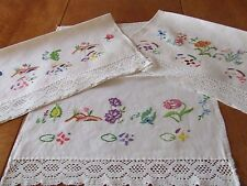 Linen English Cushions/Seat Cover Antique Embroidery