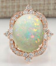 11.60 Carat Natural Opal 14K Rose Gold Diamond Ring