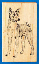 Rare PSX Basenji Dog Rubber Stamp D-237 - Personal Stamp Exchange - Stipple Art