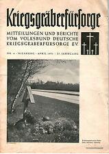 Zeitschrift 1951 April Kriegsgräberfürsorge Mitteilungen Berichte 27. Jahrgang
