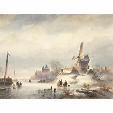 Kleijn Winter Landscape With Frozen River Drawing XL Wall Art Canvas Print