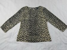 J. Crew XS Leopard Animal Print Blouse Top  Wild Cat Longsleeve Polyester