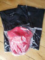 Two (2) Black Grubhub Shirts XXL, and One (1) Red Grubhub Hat (set of 3 items)