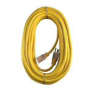 Husky 25 ft. 14/3 Indoor/Outdoor Extension Cord 14 Gauge 15A Yellow