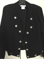 YVES SAINT LAURENT RIVE GAUCHE VINTAGE MULTI CLEAR STONES WOOL JACKET EU 40