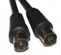 5M Black RF TV Aerial Lead Plug to Socket Cable Male Female Coaxial Extension